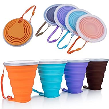 ME.FAN Collapsible Travel Cup - Silicone Folding Camping Cup with Lids - 4 Pack Expandable Drinking Cup Set - BPA Free, Portable, Graduated in Bright Colors[9.22oz]