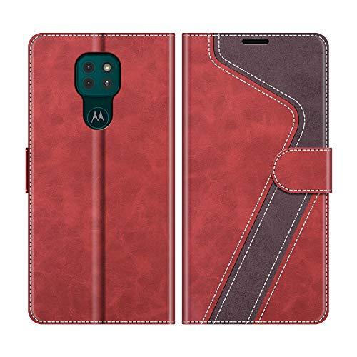 MOBESV Handyhülle für Motorola Moto G9 Play Hülle Leder, Motorola Moto G9 Play Klapphülle Handytasche Hülle für Motorola Moto G9 Play Handy Hüllen, Modisch Rot