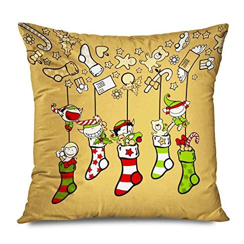 Frohe Weihnachten Cute Sock Elves Ball Strümpfe Happy People New Man Spielen Auto Urlaub Festliche dekorative Kissenbezug Home Decor