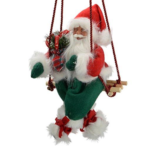 WeRChristmas decoratief figuur Kerstman op schommel, groot, 35 cm, rood/groen