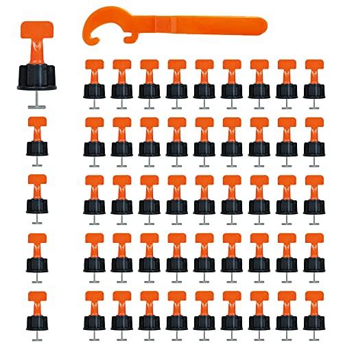 Nivelador Azulejos Reutilizables*50 Piezas, ZoneYan Reutilizable Nivelador de Azulejos, Sistema Nivelación Baldosas con un Llave Especial, para Construcción Paredes, Pisos, 1 Llave