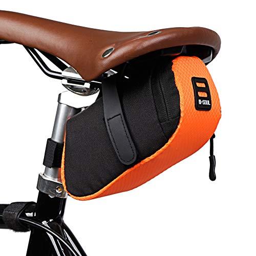 Demiawaking Borsa da Sella per Bicicletta Borsa da Sellino Impermeabile con Striscia Riflettente Borsa Sottosella per Bici MTB, Bici da Corsa (Arancione)