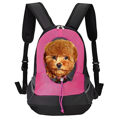 ITERY Haustier-Tragetasche, Rucksack für Hunde und Katzen, Netz-Rucksack, gepolsterter, verstellbarer Schultergurt, Pink
