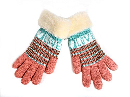 LONGCLASS varma stickade vinterhandskar för barn KIDSLOVE mysiga stickade handskar av bomull mycket bekväma mjuka för lek med fluffig söm vit rosa rosa röd pojkar flickor