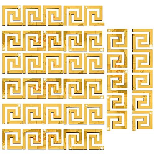 AODOOR 40 pegatinas de espejo acrílico desmontables, espejo acrílico, adhesivo para pared, diseño geométrico griego, para el hogar, salón, dormitorio, decoración (dorado)