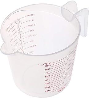 PopHMN Jarra medidora de plástico, taza jarra medidora 1L en transparente para panadero, medidas claras y fáciles de leer