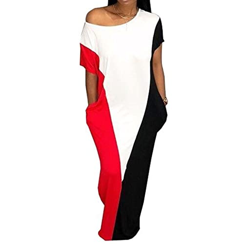 4a1a2e7b150 Speedle Women One Shoulder Short Sleeves Contrast Color Block See Through Loose  Maxi Dress with Pockets