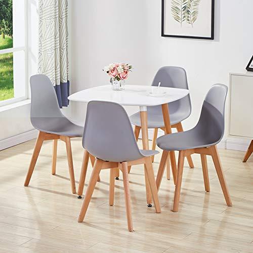 GOLDFAN Esstisch und 4 Stühle Set Modern Dining Set und Grau Stühle mit Weiß Esstisch Quadratischer Tisch Skandinavisch für Wohnzimmer, Küche