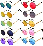Round Small Retro Vintage Mirror Lens Gradient Lens Sunglasses Metal Frame 10 Pack Mix – Red Yellow Blue Green Pink Purple Smoke OWL