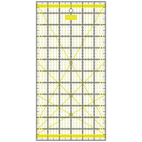 SEMPLIX Patchwork-Lineal Quilt-Lineal, transparent, mit Inch-Skala und Winkelfunktionen, ideal für Patchwork und zum Basteln, 12 x 6 inch (gelb)
