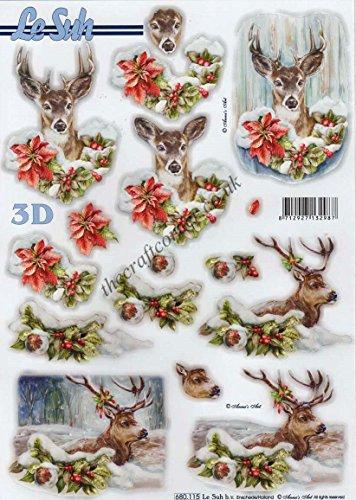 Deer at Christmas 3D Die Cut Decoupage Sheet by Le Suh