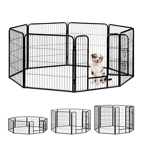 Relaxdays Jaula Perro, Cachorro y Animales Pequeños para Interior y Exterior, Acero, Negro, 80 x 78 x 235 cm, large