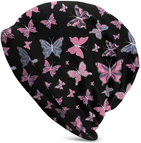 Quintion Robeson Pink Butterflies Frauen Männer Winter Warm Soft Beanie Chunky Baggy...