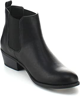 TILDON-02 Women's Elastic Chelsea Ankle Booties (Have A Narrow Shoe Toe)