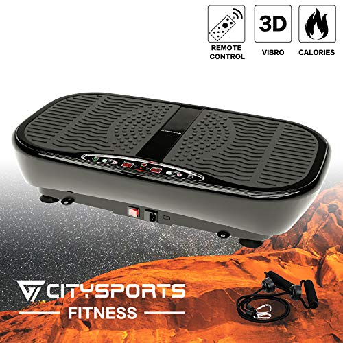 CITYSPORTS Vibrationsplatte, 3D Slim Vibrationsmaschine, mit Fernbedienung und Widerstandsbändern, 4 Automodi, 1-60 Geschwindigkeitseinstellung, 400W Motor (Schwarz)