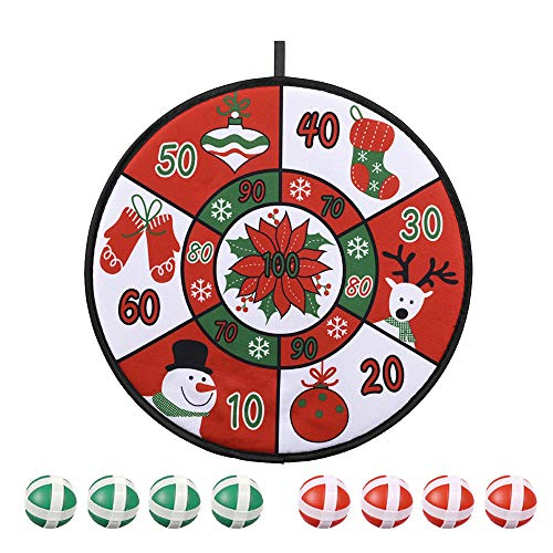Christmas Dart Board, Children's Dart Board Game, Christmas Snowman Dart Board with 8 Sticky Balls, 8 Dart pins, 1 Hook, Christmas Party Family Games, The Best for Kids Nice Gift (Red-Snowman)
