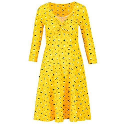 Blutsgeschwister hot Knot 3/4 arm Sommerkleid Damen Cherry Picknick gelb - L