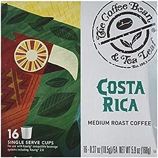 The Coffee Bean & Tea Leaf Costa Rica Medium Roast Single Serve Kcups (16 Ct) for Keurig Compatible Single Serve Machines