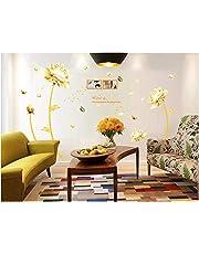 ملصق جداري ثلاثي الأبعاد بشكل زهرة ذهبية لتزيين المنزل، ملصق جداري من نبات التوليب لتزيين غرفة المعيشة