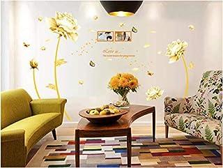 Golden Flower 3d Wall Sticker Home Decor Beauty Tulip Wall Decal For Living Room Wallpaper