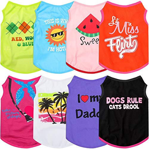 8 Pieces Dog Shirts Pet Printed Clothes Breathable Dog Shirts Soft Puppy T-Shirts Cute Pet Vest Puppy Sweatshirts Outfit for Dogs Cats Puppy (S)
