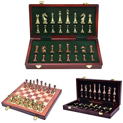 wuyule 大型メタルデラックスチェスセット - レトロ銅メッキ合金チェス大人用セット ボードゲーム ポータブル木製ボックスストレージ 折りたたみチェスセット