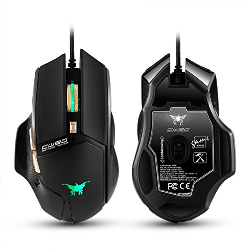 YOUKITTY Combaterwing USB 4800DPI 10 Button LED Optical Gaming Mouse for PC and Laptop Black and Red