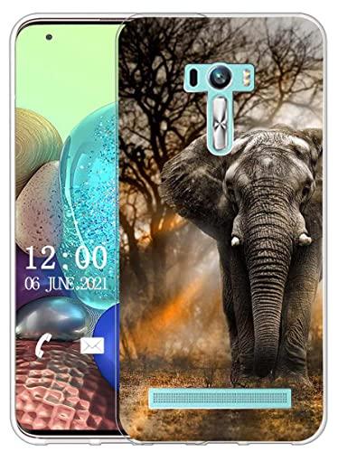 Sunrive Kompatibel mit Asus Zenfone Selfie ZD551KL Hülle Silikon, Transparent Handyhülle Schutzhülle Etui Hülle (X Elefant)+Gratis Universal Eingabestift MEHRWEG