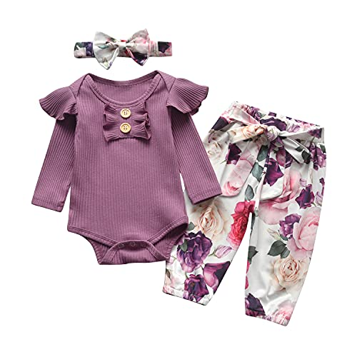 Newborn Infant Baby Girl Clothes Ruffle Long Sleeve Romper and Floral Pants with Headband 3PCS Set (3-6 Months) Purple