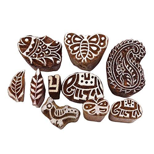 Knitwit Los Von 10 Stück Indischer Holzblock Kunst Textil-Stempel Dekorativ Block Hand Geschnitzt
