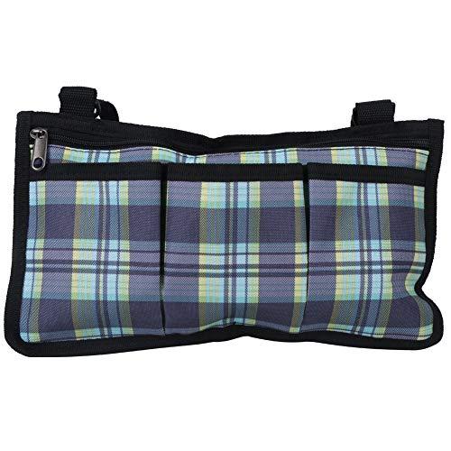BYARSS Multifunktionale Rollstühle Seitentasche Armlehne Hängende Beutel Organizer Aufbewahrungstasche blau Gitter 18x32.5cm