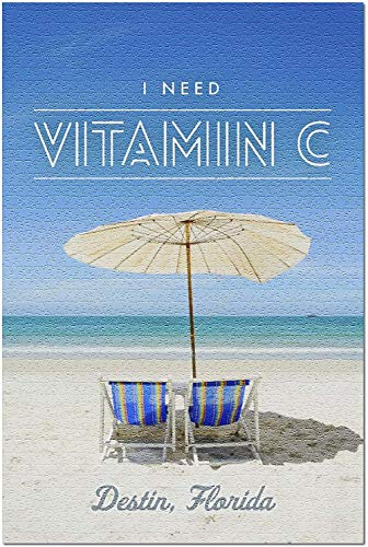 HD Destin Florida - I Need Vitamin C - Beach Chairs and Umbrella (Premium 500 Piece Jigsaw Puzzle for Adults 52*38cm Made in USA!)