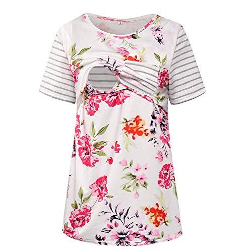 Womens Striped Breastfeeding Tops Floral Print Short Sleeve Maternity Nursing Shirts