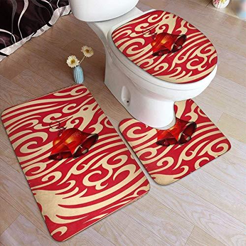 Lawenp Juego de alfombras de baño de Moda navideña con patrón Decorativo de Longfeng exuberante, 3 Piezas, Almohadillas Antideslizantes, Alfombrilla de baño + Contorno + Tapa de Inodoro