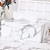 Marbled PU Leather Tissue Box Cover Napkin Box Rectangular Tissue Holder Paper Case Dispenser with Lid Storage for Home Office Car (White)