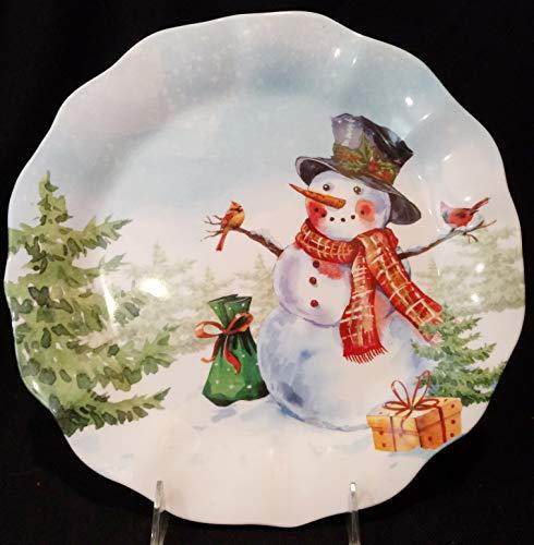"Snowman Melamine Plate, Snowman Plate, Christmas Dinner Plate, Holiday Melamine Plate 10-1/2"", Christmas Melamine Plate"