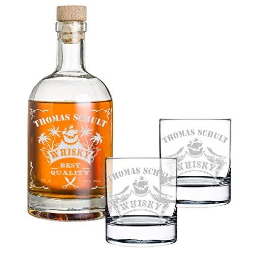 polar-effekt 3-TLG Geschenk-Set mit Gravur - Whiskyflasche und 2 Whiskygläser - Glas-Karaffe Inhalt: 700ml - Geschenkidee für Männer - Motiv Piratenschiff
