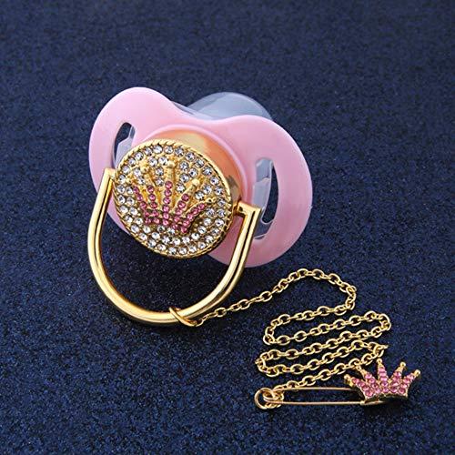 Bling Bling Pink Crown Strass Baby Schnuller und Schnuller Halter Clip Safe Schnuller Dummy Baby Shower Geschenk