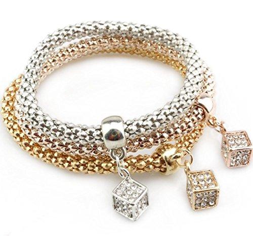 Cosanter 3 Stück Damen Armbänder Set Gold Silber Rosegold Tricolor, Stilvolles Glänzendes Armband Mit Kleiner Würfel Anhänger