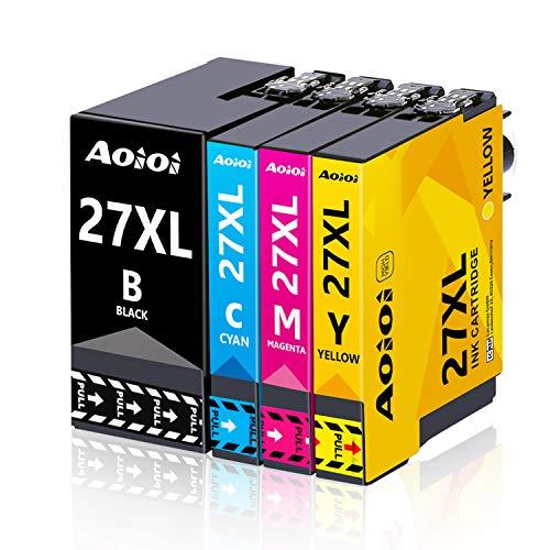 AOIOI 27XL Cartuchos de impresora de repuesto para Epson 27 27XL, compatibles con Epson Workforce WF-3620 WF-3640 WF-7110 WF-7210 WF-7610 WF-7620 WF-7710 WF-7715 WF-7720 (5 unidades)