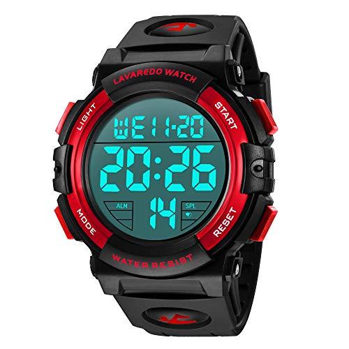 Relojes, Reloj Digital para Hombres, 53M Cronógrafo Impermeable para Exteriores Relojes Deportivos para Hombres con retroiluminación LED y Alarma Azul