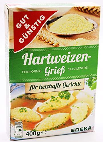 Gut und Günstig Hartweizengrieß Feinkörnig und Schalenfrei, 5er Pack (5 x 400g)