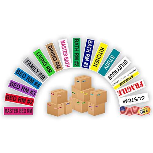 Kenco Farbkodierte Umzugs-Etiketten, komplette Schachtel - inklusive zerbrechlichen Umzugsartikeln ROOM PACK
