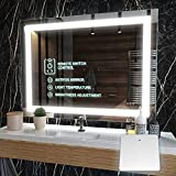 𝗣𝗥𝗘𝗠𝗜𝗨𝗠 Led Bathroom Mirror - Smart Mirror w/ Wireless Switch + Anti Fog/ Waterproof IP44/ Dimmable/ 3 Colors Warm/Natural/White CRI 90 Frameless Led Mirror Vertical & Horizontal Mount (40x32)