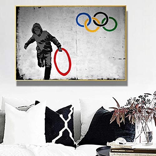 YCCYI Banksy Hold Olympics Ring Graffiti Art Abstract Canvas Painting Posters and Prints Wall Art Home Decor Pictures 80x120cm(32x47in) Inner Frame