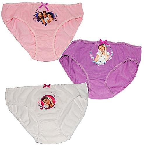 Kinder-land alles-meine.de GmbH 3 TLG. Slip / Unterhosen - Disney Violetta - Größe 4 bis 5 Jahre - Gr. 110 bis 116 - 100 % Baumwolle - für Kinder Pants Unterhose Slips - Mädchen Kinder M..