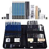 H & B Sketching Pencils Set, 40-Piece Drawing Pencils and Sketch Kit, Complete Artist Kit Includes Graphite Pencils, Pastel Pencils, Sharpener & Eraser, Professional Sketch Pencils Set for Drawing