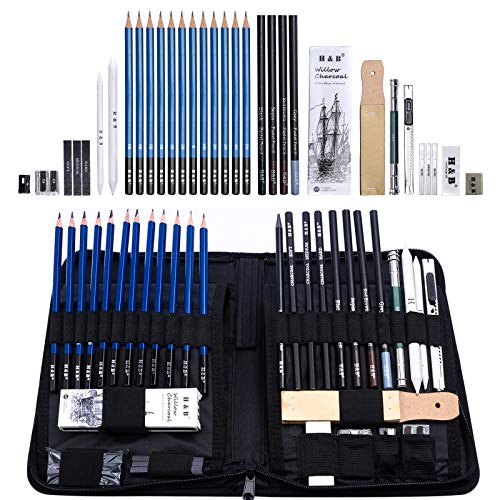 H & B Sketching Pencils Set, 40-Piece Drawing Pencils and Sketch Kit, Complete Artist Kit Includes Graphite Pencils, Pastel Pencils, Sharpener & Eraser, Professional Sketch Pencils Set for Drawing