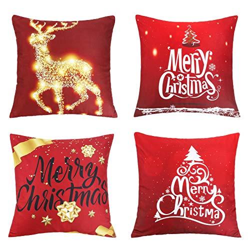 Furado Fundas Navideñas para Cojines Algodón Lino Throw Pillow Case 4 Funda de Almohada para Cojín Decoración de Hogar,Adorno para Fiesta de Navidad 45 * 45cm