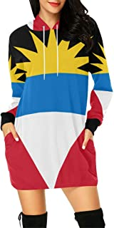 Antigua Barbuda Flag Women's Hoodie Mini Dress
